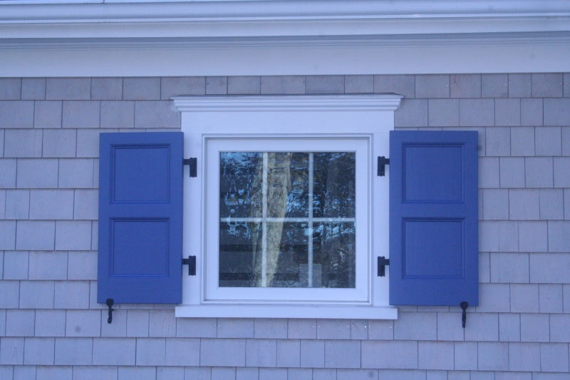 Raised flat panel exterior colonial shutterworks for Spanish style interior shutters